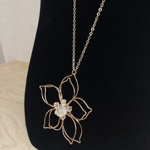 Long Gold Wire flower Necklace